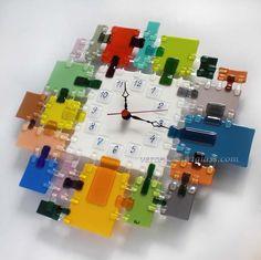 Art Glass Wall Clock GLASS MOSAIC fusing | Glass handmade fused ...: