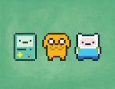 pixel art 8 bit finn and - art Adventure Time Tattoo, Abenteuerzeit Mit Finn Und Jake, Finn Jake, Pixel Tattoo, Arte 8 Bits, Modele Pixel Art, 8 Bit Art, Pixel Art Templates, Perler Bead Art