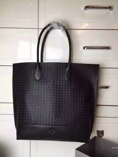 2015 S/S Mulberry Blossom Tote Bag Black Calf Basket Weave Embossed Nappa