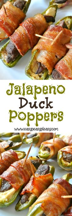 Duck Poppers I'm giving away my husband's secret ingredient for these amazing Jalapeno Duck Poppers!I'm giving away my husband's secret ingredient for these amazing Jalapeno Duck Poppers! Goose Recipes, Meat Recipes, Appetizer Recipes, Dinner Recipes, Cooking Recipes, Appetizers, Venison Recipes, Grill Recipes, Fish Recipes