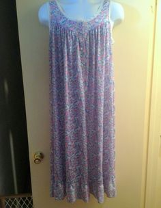 Blue Pink Vintage Lorraine Size Large Floral Sleeveless Lace Edged Nightgown  #Lorraine