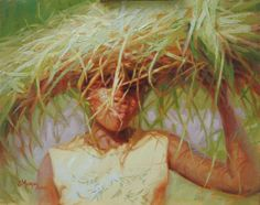 """Strength and Dignity, 16""""x 20"""" oil by Cecile W. Morgan. Lomwe woman of Mozambique carrying thatch for her roof."""