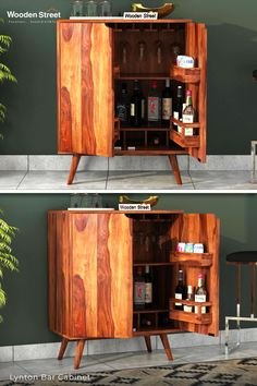 A beautiful mid-century design. Lynton bar cabinet has a subtle touch of a trend in its aesthetics. The unit is fully equipped with slots, holders, and hooks for keeping wine bottles and glasses. Explore more on Woodenstreet.   #woodenstreet #furniture #furniturebondedwithlove #MakeinIndia #barcabinets Wooden Street, Shraddha Kapoor, Bar Furniture, Mid Century Design, Wine Bottles, Liquor Cabinet, Hooks, Aesthetics, Room Decor