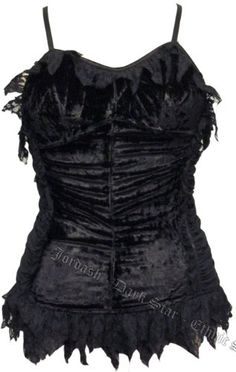 Dark Star Crushed Velvet/Lined Net Top with Lace trim