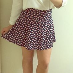 Floral Skater Shirt Blue skater skirt with pink flowers. So cute for spring! Great condition and only worn a few times. Fits S or M Charlotte Russe Skirts Circle & Skater