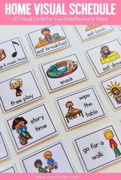 Mothers Day Crafts For Kids Discover Home Visual Schedule Cards Home Visual Schedule and Routine For Toddlers and Preschoolers Toddler Learning, Toddler Preschool, Learning Activities, Preschool Activities, Montessori Toddler, Teaching Kids, Preschool Schedule, Toddler Schedule, Toddler Routine Chart