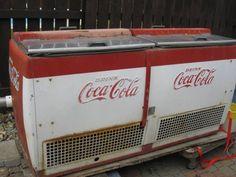 Antique Coca Cola refrigerated case.