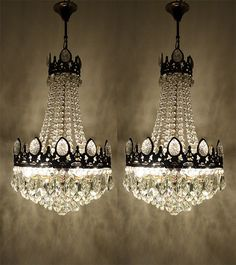 Pair of Antique Vintage French Basket Style Brass Crystals Chandeliers 1950'S | eBay