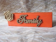 Family Block, Wooden Block, Family Shelf Sitter, Shabby Hand Painted Shelf Sitter, Shabby Family Wooden Sign,  Burlap Family Wooden Block by HeartofJoyCreations on Etsy