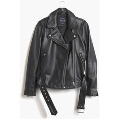 MADEWELL Ultimate Leather Motorcycle Jacket ($498) ❤ liked on Polyvore featuring outerwear, jackets, coats & jackets, coats, true black, leather jackets, boyfriend leather jacket, madewell, moto jacket and moto biker jacket