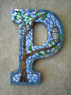Custom Mosaic Monogram by Haley Crampton Gilroy, Bay Area, CA Stone Mosaic, Mosaic Glass, Stained Glass, Glass Art, Sea Glass, Tile Art, Mosaic Art, Mosaic Tiles, Mosaic Crafts