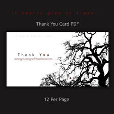 If Hearts Grew on Trees Thank You Card PDF by InspiredInstinct, $17.00