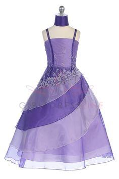 Purple Two Tone Embroidered Organza A-line Flower Girl Dress G2569P $56.95 on www.GirlsDressLine.Com