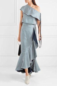 Hellessy - Daffodil Ruffled Striped Silk-satin Twill Maxi Skirt - Petrol