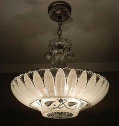 Large Vintage 1940s American Art Deco CREAM ECRU Glass PETAL ...