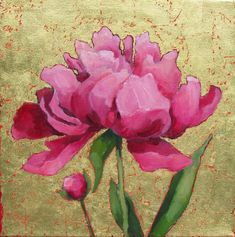 """""""The Flanagan's Peony,"""" Anne Salas, oil, gold leaf on canvas, 14 x collection of the artist. Peony Painting, Flower Painting Canvas, Flower Paintings, Art Floral, Peony Print, Leaf Flowers, Rose Art, Texture Painting, Gold Paint"""