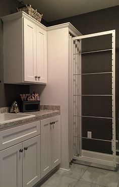 53 Laundry Design Ideas With Drying Room That You Must Try Laundry Room Shelves, Laundry Room Cabinets, Laundry Room Organization, Laundry Storage, Closet Storage, Diy Storage, Diy Cabinets, Storage Shelves, Storage Ideas