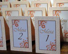 Identificadores de Mesa/Table Numbers  (Boda/Wedding)  Design by: Yil Siritt