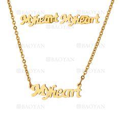 """juego de collar y aretes de """"Myheart""""de dorado en acero-SSNEG813324"""