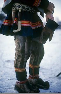 Traditional Saami wear ~ Lapland.  They have such amazing wool tunics (clearly prepared for the worst norwegian winters) and their boots are really nice too. I'd probably wear this with jeans instead of reindeer pelt pants.