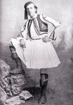 Oscar Wilde in Fustanella costume...