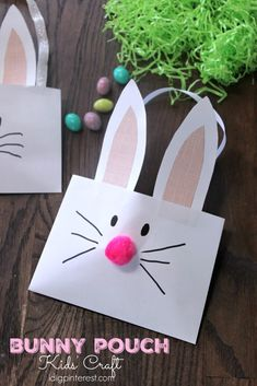 Bunny Pouch Kids Craft. Get in the spring time mood with this fun Easter Bunny Pouch Kids' craft! Fill them with grass, treats, and other fun surprises! These are so easy to make and cute way for the kids to carry around a snack!