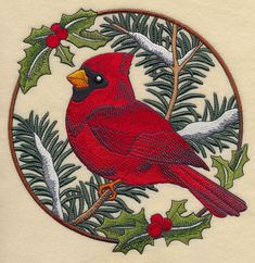 Cardinal in Christmas Blooms - Male Product ID: Size: x x 149 mm) Color Changes: 23 Stitches: 61147 Colors Used: 16 Machine Embroidery Applique, Embroidery Patterns, Cross Stitch Patterns, Painted Rocks, Weaving, Birds, Quilts, Creative, Painting Pictures