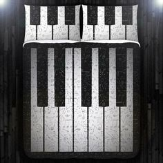 Music Note Key Piano Duvet Cover Bedding Queen Size King Twin Blanket Sheet Full Double Comforter Toddler Daybed Kid Teen Dorm