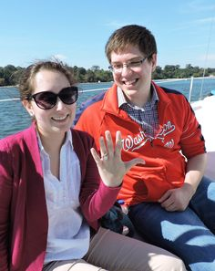 """WILL YOU MARRY ME? Meghan Mannas said yes when Gregory Eyler proposed to her on the bow of a boat with Williamsburg Charter Sails. They knew each other casually at Hood College in Frederick, Maryland. They wound up in the same history/archaeology class that was bound for a field trip at Jamestown Island, where they hit it off. As Gregory got down on bended knee to propose, a passing tugboat tooted his horn as if to say, """"Congratulations."""""""
