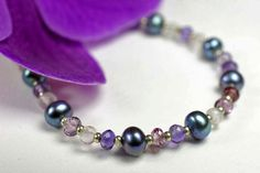 Amethyst and freshwater pearl gemstone by CandyGemstoneDesigns