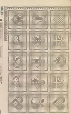 Zazdrostki do okien - Urszula Niziołek - Álbumes web de Picasa go to gallery of.lotsssss of patternsFilet or cross stitch graphs Filet Crochet Charts, Knitting Charts, Knitting Stitches, Knitting Patterns, Crochet Patterns, Crochet Squares, Crochet Motif, Crochet Doilies, Fillet Crochet