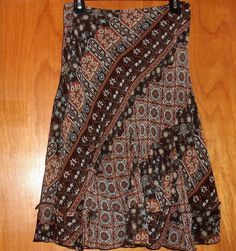 NINE & CO BY NINE WEST SEMI SHEER LINED PEASANT STYLE SKIRT BROWN FLORAL SIZE 6 #NINECO #PeasantBoho