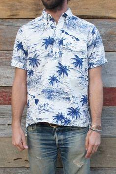 Engineered Garments Popover Shirt Surf Print