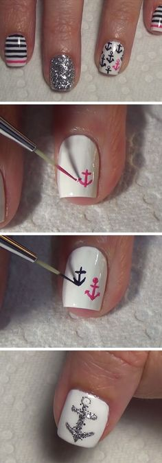Nautical Nail Art | 18 Easy Summer Nails Designs for Summer | Cute Nail Art Ideas for Teens Nail Design, Nail Art, Nail Salon, Irvine, Newport Beach