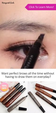 Want natural looking brows without the maintenance? These Waterproof Microblading Eyebrow Pens let you effortlessly draw on your eyebrows and thanks to the unique 4-tip ends, you can draw on individual hairs for the most natural look! It then dries on your skin and lasts for days, so you don't need to keep reapplying. It's easy to use, smudge-resistant, waterproof and it can easily be taken off with makeup remover. Get 50% OFF Yours Today. #HowToCleanMakeupBrushes Eyebrow Makeup Tips, Eyebrow Pencil, Makeup Videos, Eyebrow Tinting, Makeup Hacks, Makeup Trends, Natural Brows, Natural Makeup, Natural Beauty