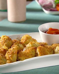 Potato poppers. I used egg substitute and sprayed my pan. These were good!