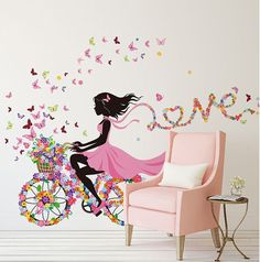 Removable Wall Stickers Decal Home Decor Girl Kids Flowers Bike Spring Butterfly Cute Romantic Bedroom Love Decoration Waterproof