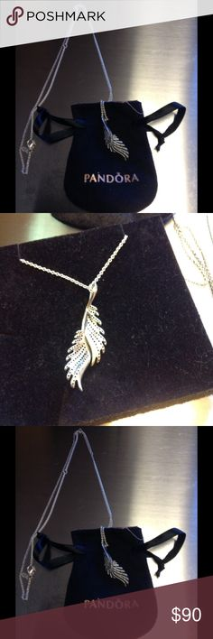 Pandora majestic feathers necklace NWOT Same as above.. I never wore it.. Thanks for looking Pandora Jewelry Necklaces