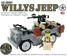 Willy's Jeep with Custom Printed Minifigure - Modern Brick Warfare Toys  #lego #WW2 #custom kits