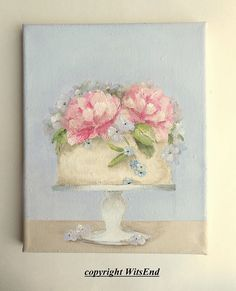 Peony Cake painting original ooak art still life by 4WitsEnd, via Etsy
