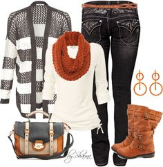 Winter / Fall outfit : Gray & White stripe sweater. White Top. Rust Scarf, Boots & Belt. Jeans. Beige, Gray & Rust Purse.