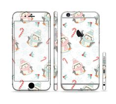 The Christmas Suited Fat Penguins Sectioned Skin Series for the Apple iPhone 6s Plus
