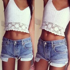 High waisted shorts and crop top tank