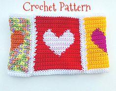 Crochet PATTERN Hearts Cowl Neckwarmer. Reversible DIY