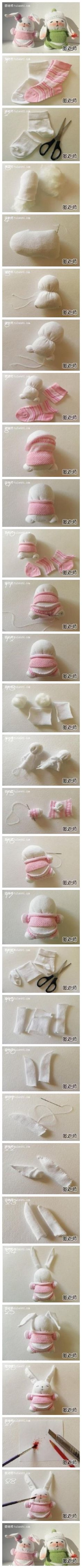 How to make cute DIY bunnies from old socks step by step tutorial instructions How to make cute DIY bunnies from old socks step by step tuto...