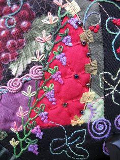 I ❤ embroidery & crazy quilting . . . Crazy Quilt block- Grapes