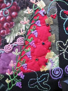 I ❤ embroidery & crazy quilting . . . Crazy Quilt block- Grapes