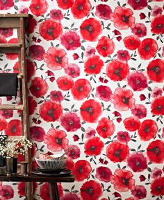 Poppies Red Flower Wallpaper - Red Floral Wall Coverings by Graham Brown Red Flower Wallpaper, Brown Wallpaper, Accent Wallpaper, Modern Wallpaper Designs, Designer Wallpaper, Red Poppies, Red Flowers, Floral Flowers, Almond Blossom