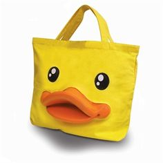Duck Yellow Canvas Tote with a Rubber Duck Beak! www.find-me-a-gift.co.uk