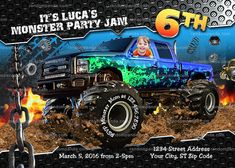 Personalize Monster Truck invitation Monster Trucks Birthday